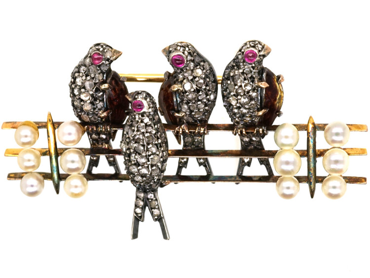 ffe623364 French 18ct Gold Diamond & Ruby Swallows Brooch - The Antique ...