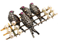 French 18ct Gold Diamond & Ruby Swallows Brooch