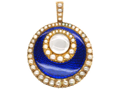 Georgian 15ct Gold, Royal Blue Enamel & Natural Split Pearl Pendant