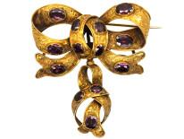 Victorian 15ct Gold & Almandine Garnet Bow Brooch