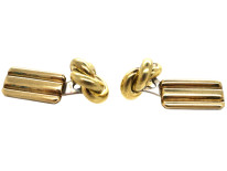 Silver Gilt Knot & Bar Cufflinks