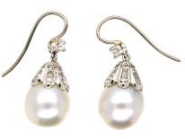 18ct White Gold, Large Pearl & Diamond Drop Earrings