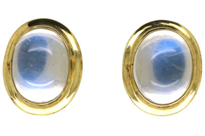 14ct Gold & Oval Moonstone Stud Earrings