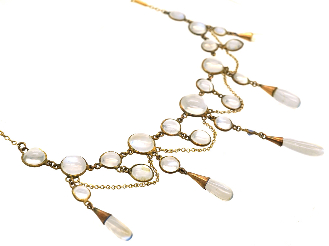 Edwardian 15ct Gold, Moonstone & Sapphire Necklace