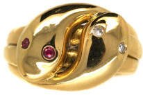 Victorian 18ct Gold Double Snake Ring Set With Rubies & Diamonds