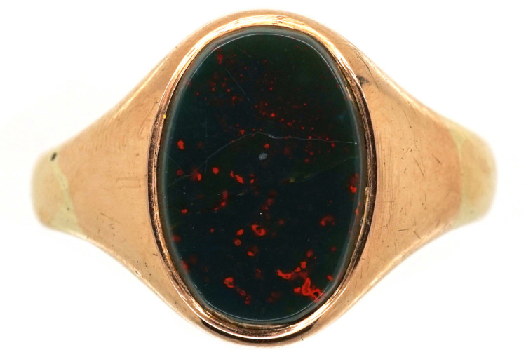 9ct Gold & Oval Bloodstone Signet Ring - The Antique Jewellery Company