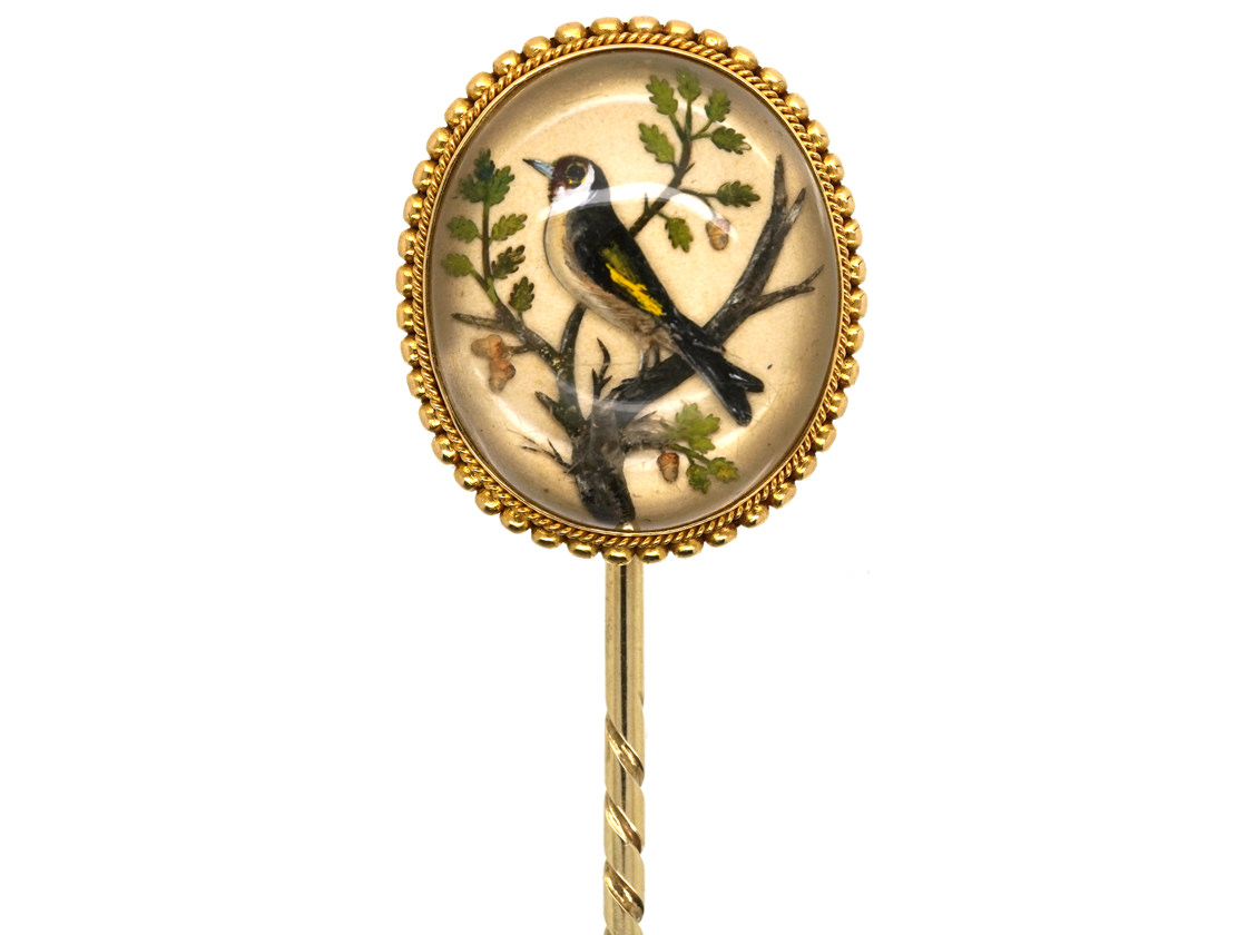 Victorian Reverse Painted & Carved Rock Crystal Tie Pin of a Goldfinch By Pradier