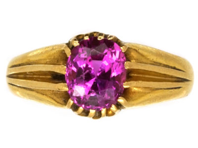 Victorian 18ct Gold & Pink Sapphire Ring