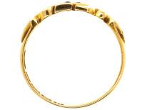 Edwardian 18ct Gold, Sapphire & Diamond Diagonal Crossover Design Ring