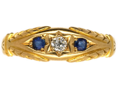 Victorian 18ct Gold, Two Sapphire & One Diamond Ring
