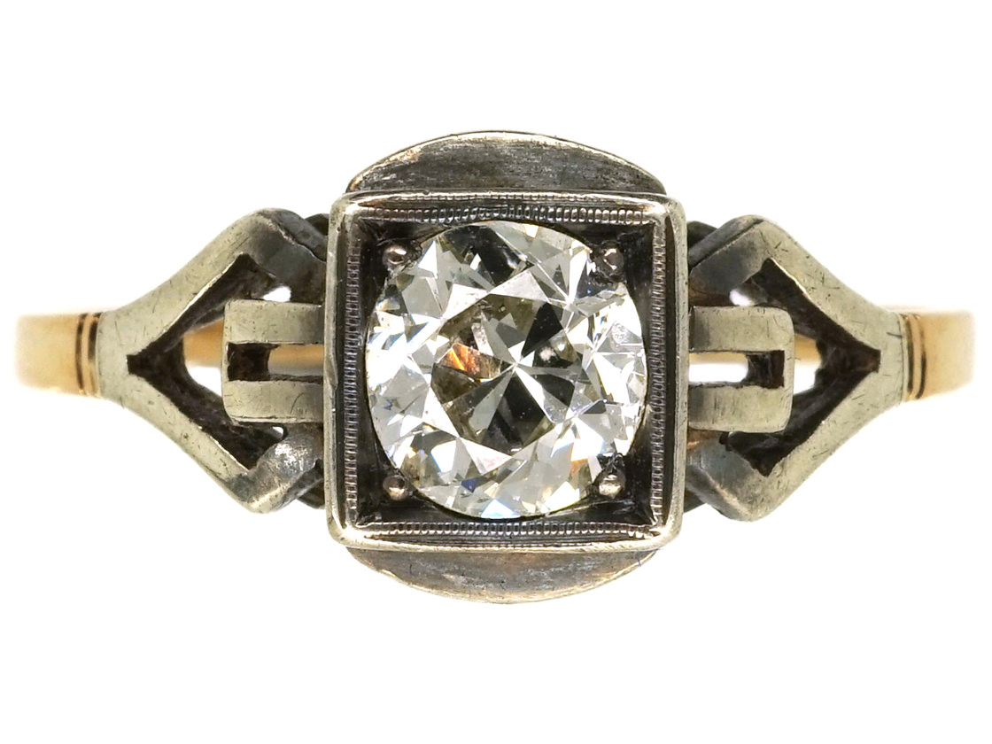 Art Deco 14ct White & Yellow Gold, Diamond Ring With Ornate Shoulders