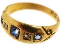 Edwardian 18ct Gold Five Stone Sapphire & Diamond Ring