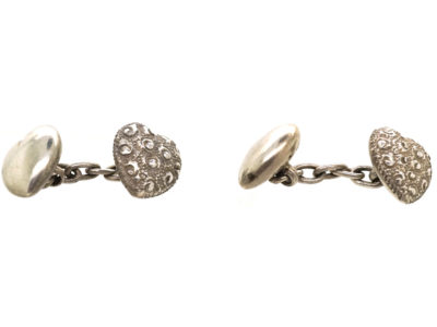 Victorian Silver Heart Shaped Cufflinks