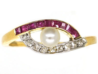 Art Deco 18ct Gold, Platinum, Ruby, Diamond, & Pearl Eye Ring