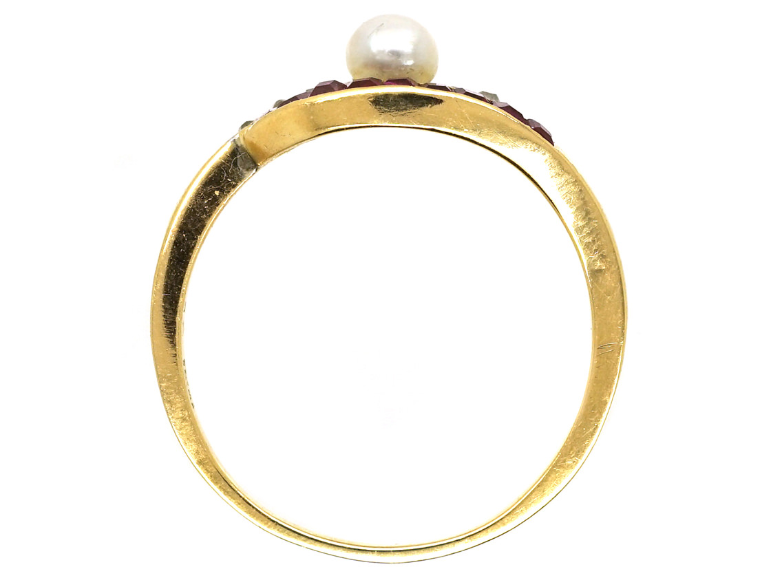 Art Deco 18ct Gold, Platinum, Ruby, Diamond, & Pearl Eye Ring