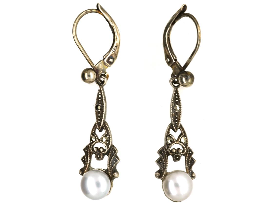 Edwardian Silver, Marcasite & Pearl Drop Earrings