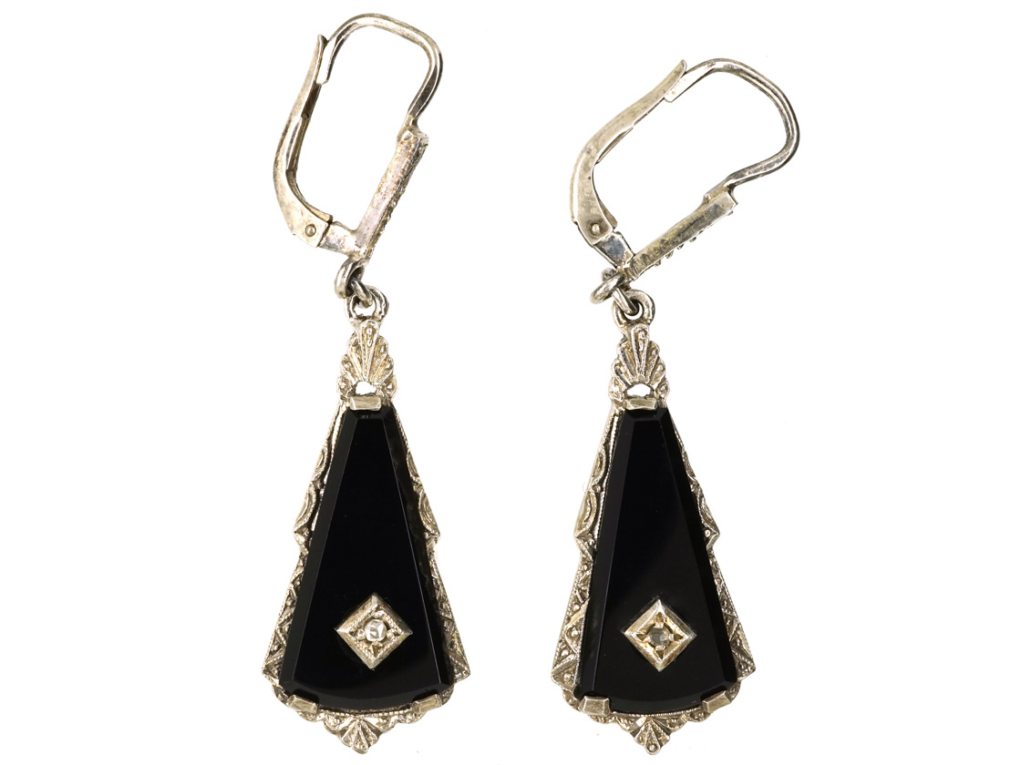 Art Deco Silver, Onyx & Rose Diamond Drop Earrings