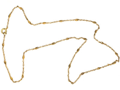 Edwardian 15ct Gold Plain & Twist Chain