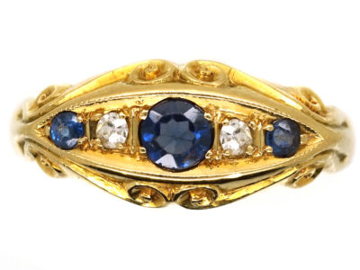 Edwardian 18ct Gold, Three Sapphire & Two Diamond Ring
