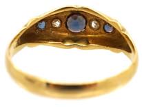 Edwardian 18ct Gold, Three Sapphire & Two Diamond Ring