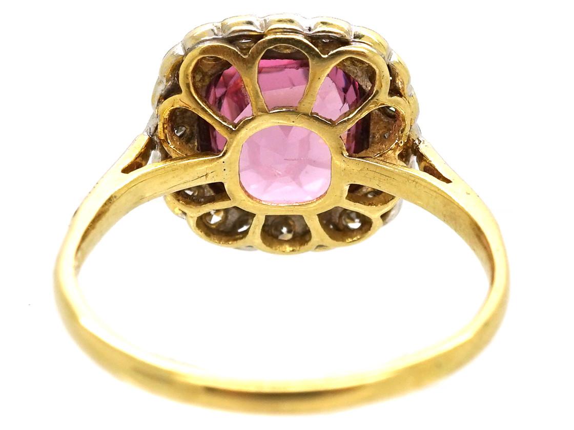 18ct Gold, Platinum, Natural Pink Spinel & Diamond Ring