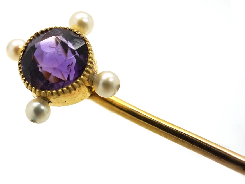 Edwardian 15ct Gold Amethyst & Natural Pearl Tie Pin