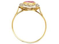 Edwardian 18ct, Platinum, Pink Sapphire & Diamond Ring