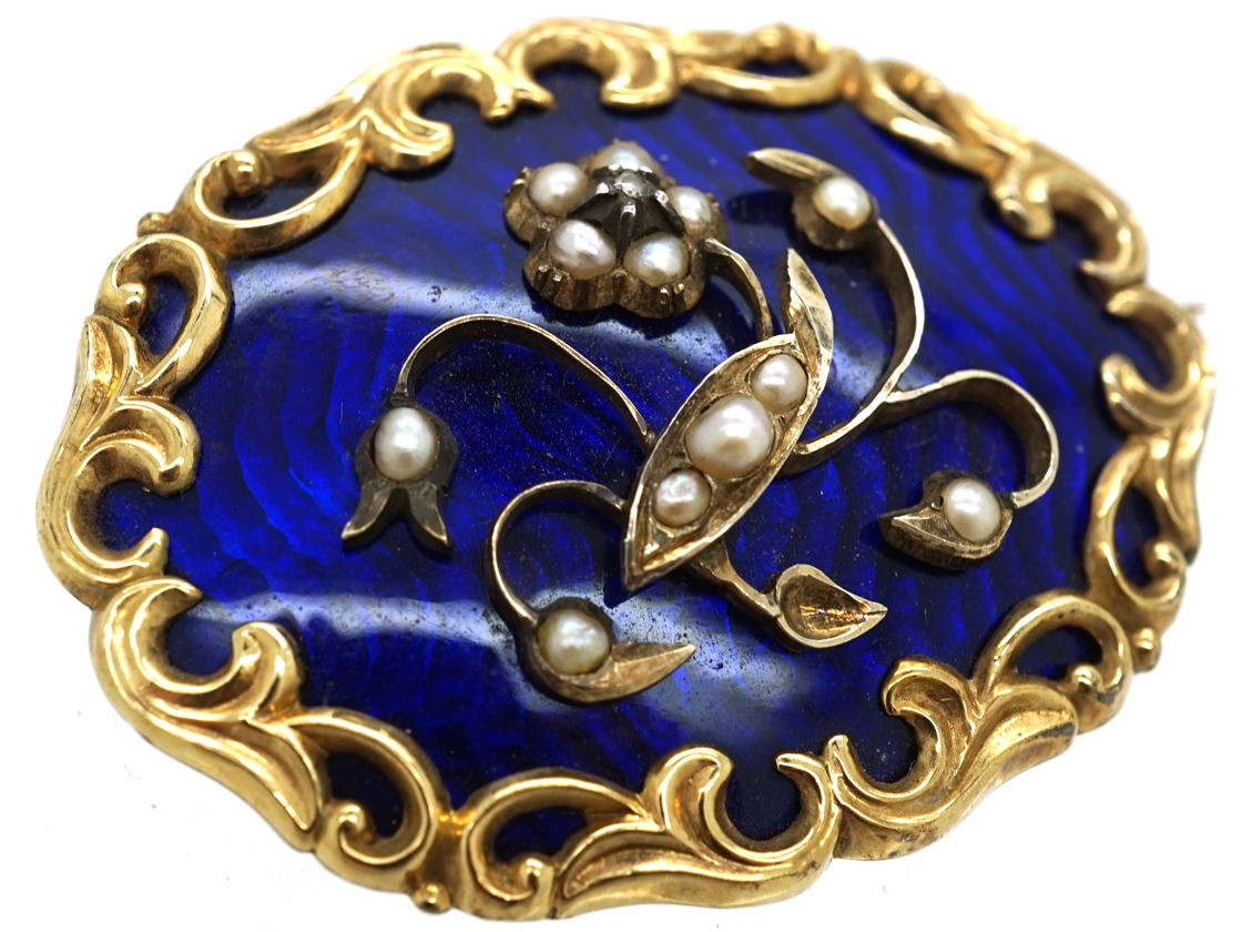 Victorian 15ct Gold & Royal Blue Enamel Brooch With Pearl Set Flower Spray