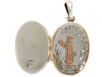 Victorian Kate Greenaway Style, Silver & Gold Overlay Locket