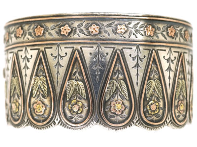 Victorian Silver & Gold Overlay Bangle