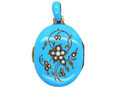 Victorian Silver, Natural Split Pearl & Turquoise Blue Enamel Locket