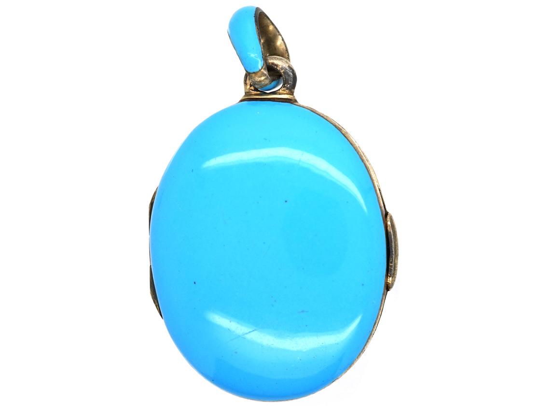 Victorian Silver, Natural Split Pearl & Turquoise Blue Enamel Locket