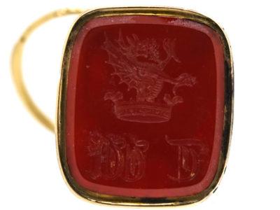 Georgian 18ct Gold Cased Seal with Fox Mask & Carnelian Intaglio Base