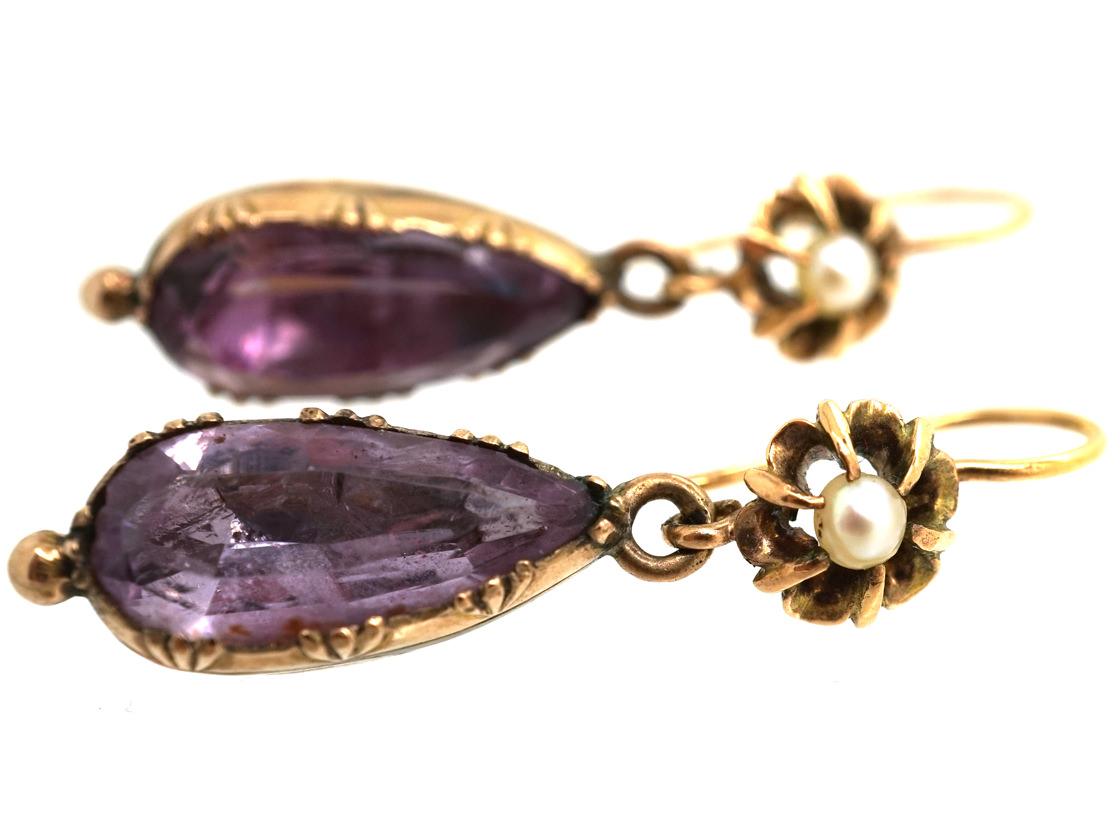 Regency 15ct Gold Natural Pearl & Foiled Amethyst Drop Earrings