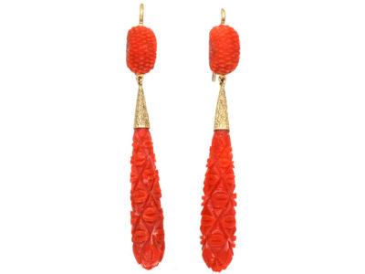 Georgian Pineapple Cut Coral Drop Earrings