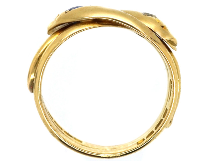 Victorian 18ct Gold Double Snake Ring Set With a Diamond & a Sapphire