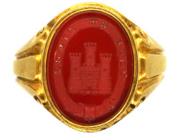Victorian 18ct Gold & Carnelian Signet Ring With an Intaglio of a Castle