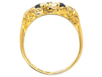Victorian 18ct Gold, Carved Half Hoop Sapphire & Diamond Ring