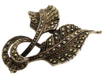 Art Deco Silver & Marcasite Double Leaf Brooch