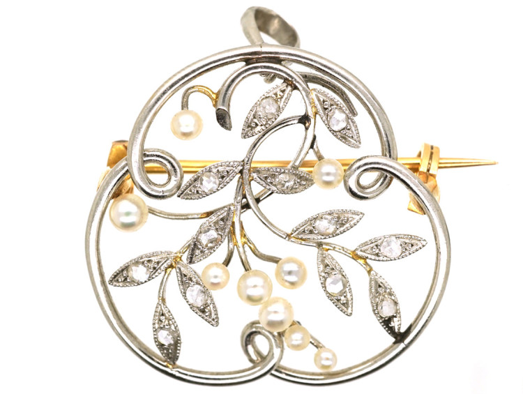 French Platinum, Diamond & Natural Split Pearl Brooch/ Pendant