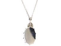 Edwardian 18ct White Gold, Opal & Diamond Pendant on 18ct White Gold Chain