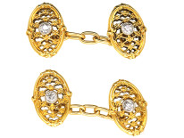 Belle Epoque 18ct Gold & Diamond Set Oval Cufflinks