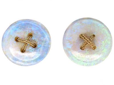15ct Gold Opal Button Earrings