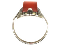 Art Deco Silver, Marcasite & Carnelian Ring