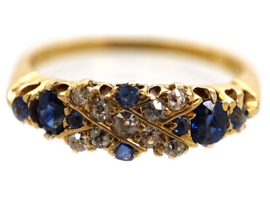 Edwardian 18ct Gold, Sapphire & Diamond Criss Cross Design Ring