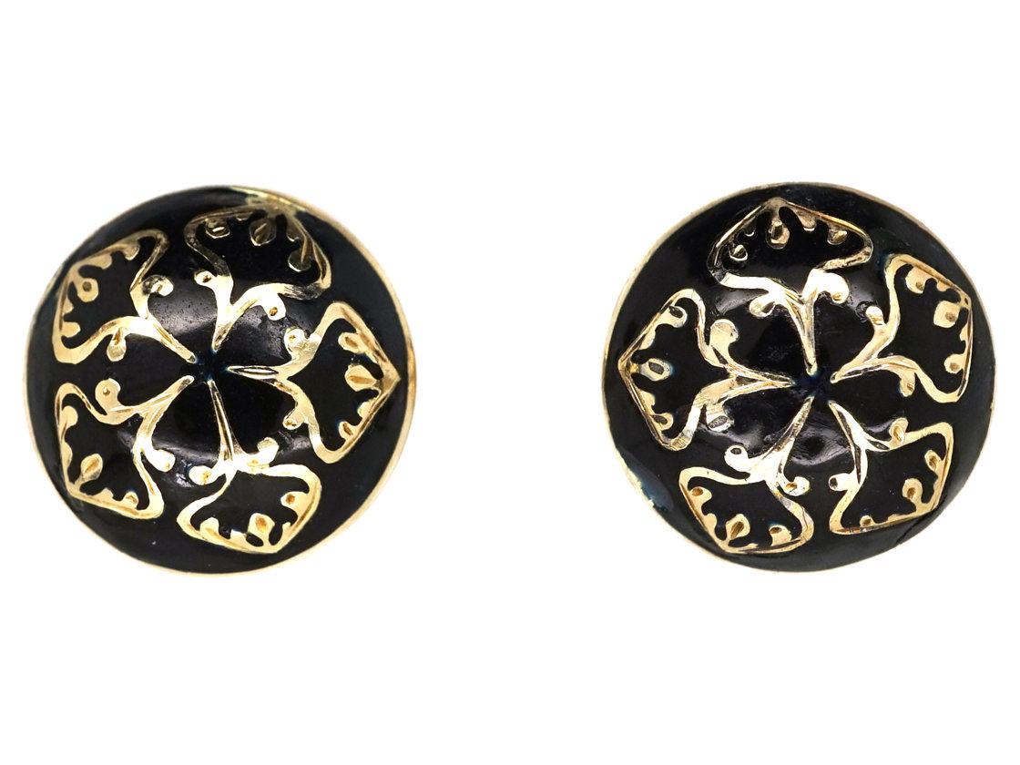 Victorian 15ct Gold & Black Enamel Round Earrings