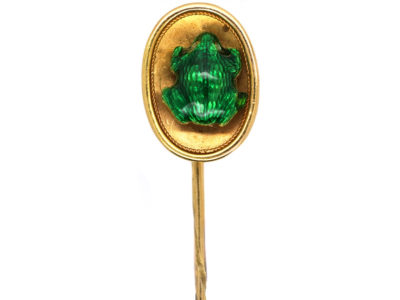Edwardian 15ct Gold Tie Pin With Green Enamel Frog