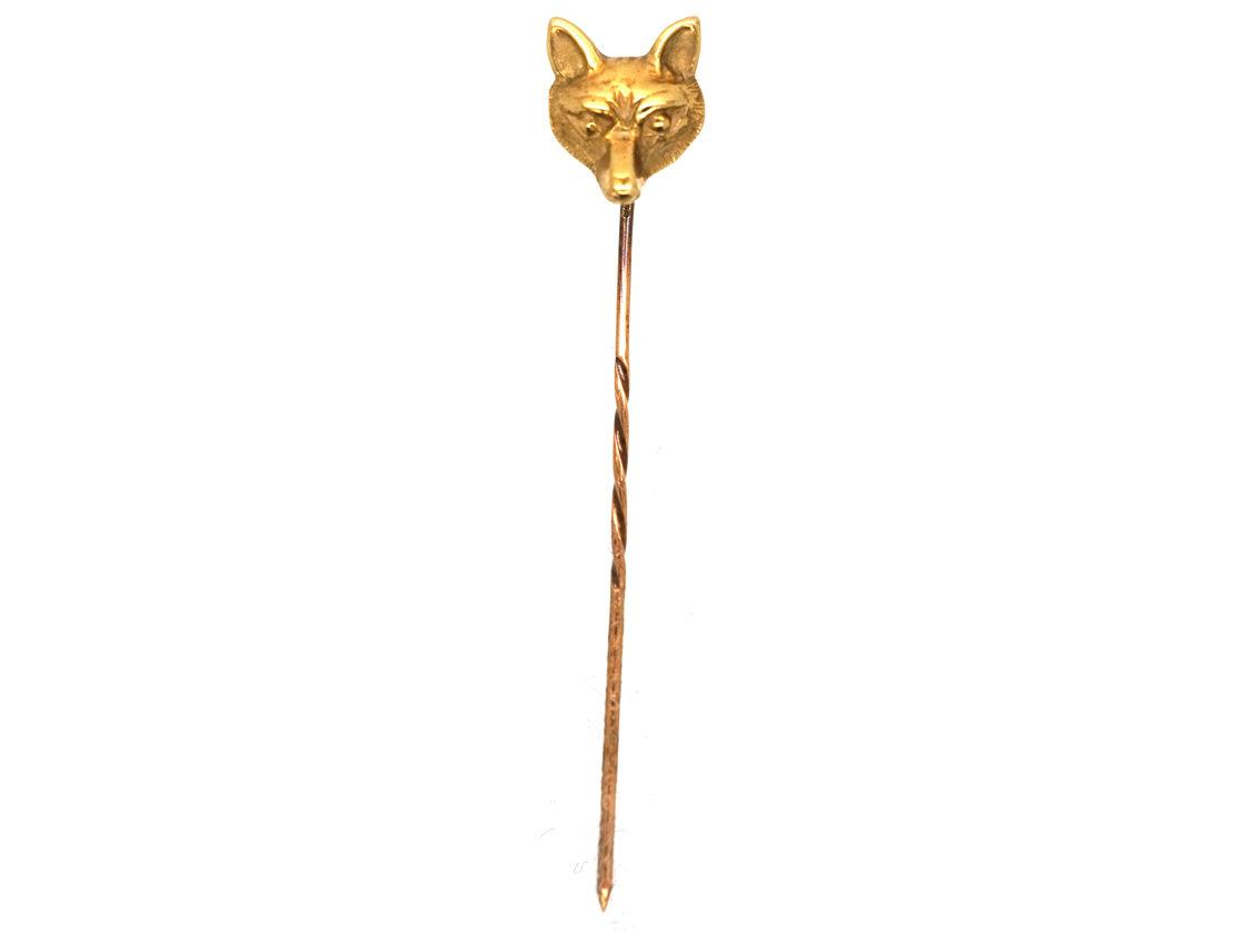 Edwardian 15ct Gold Fox Head Tie Pin