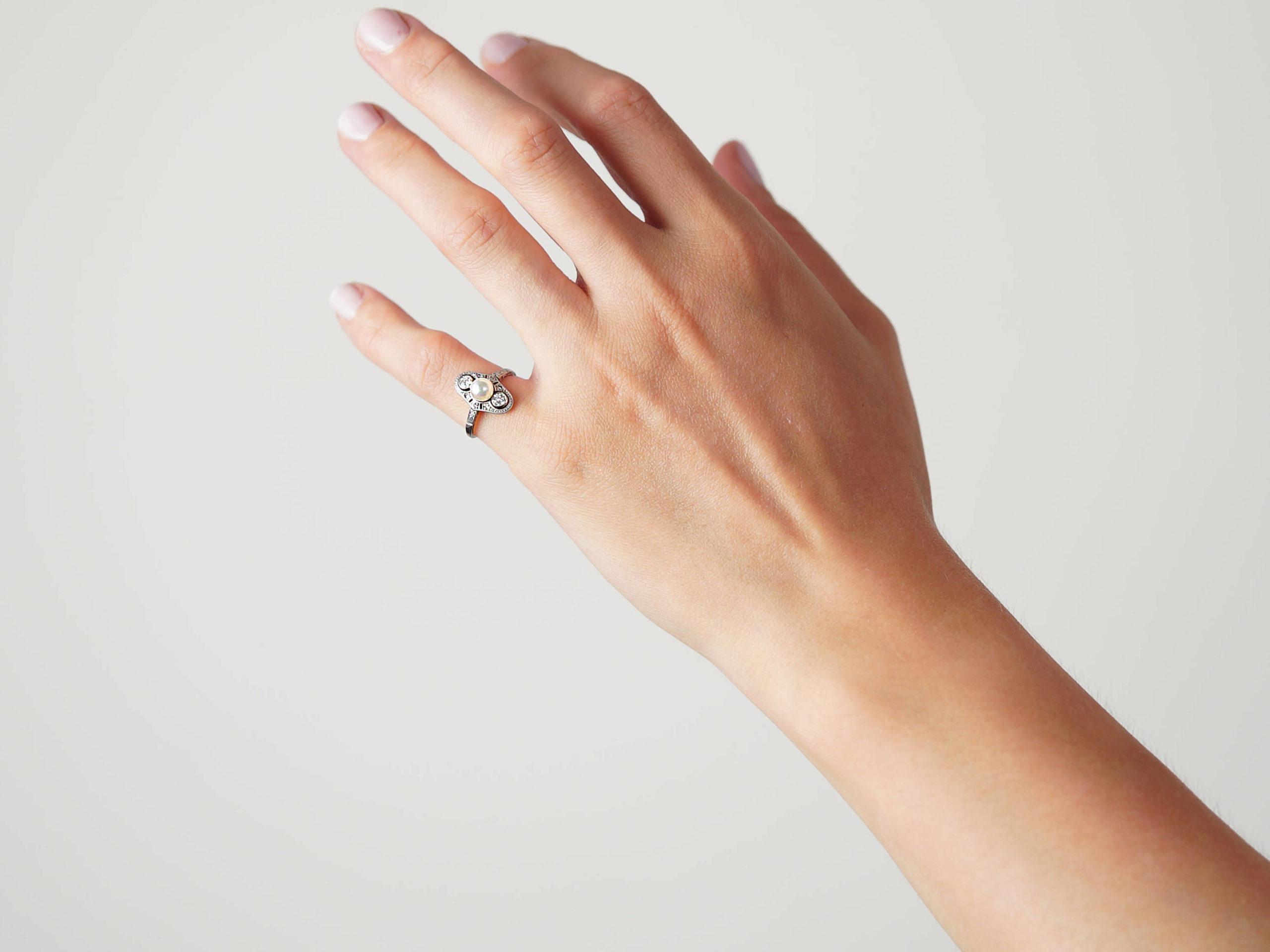 Art Deco Platinum, Natural Pearl & Diamond Ring