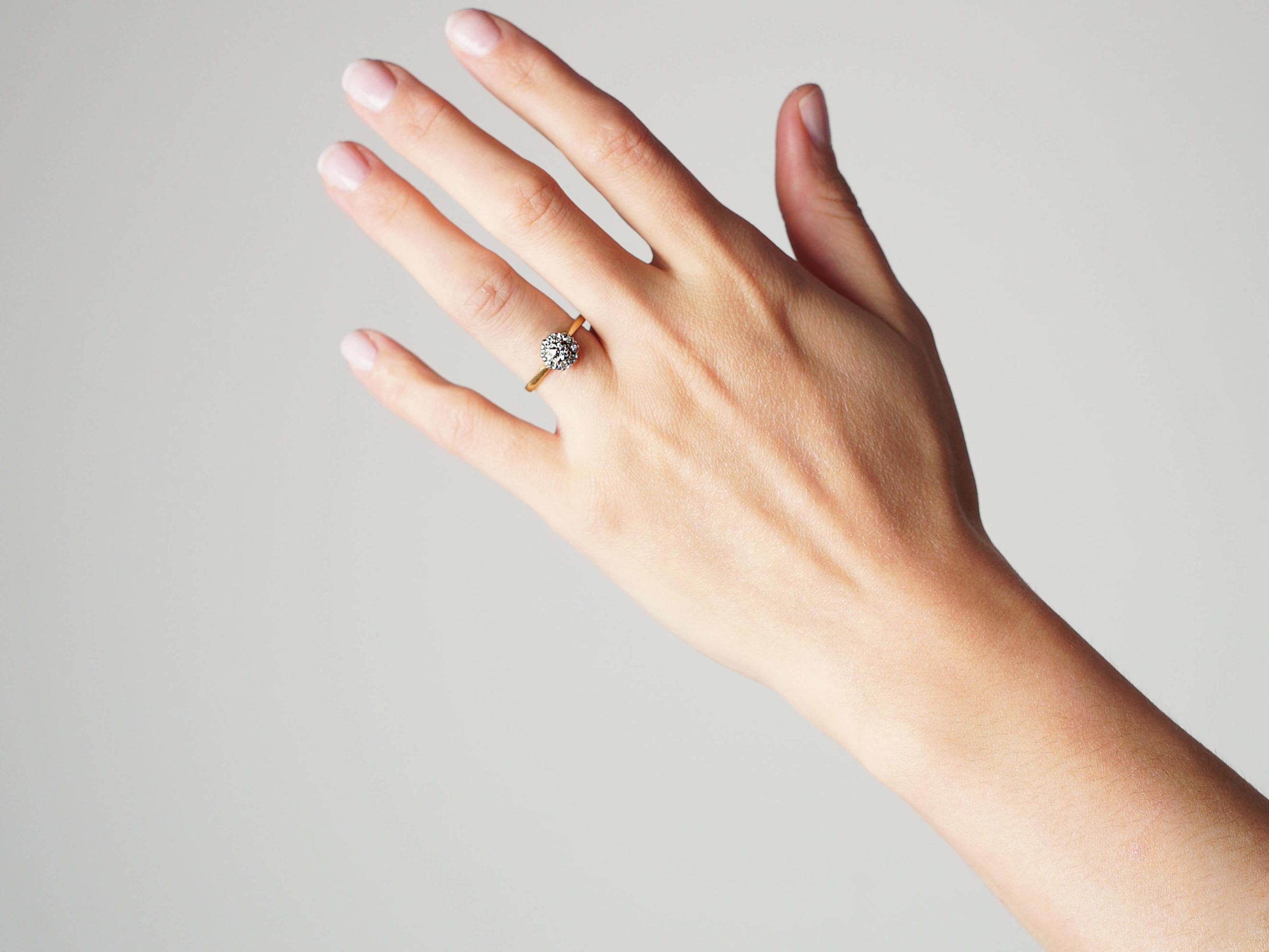 18ct White & Yellow Gold, Diamond Cluster Ring